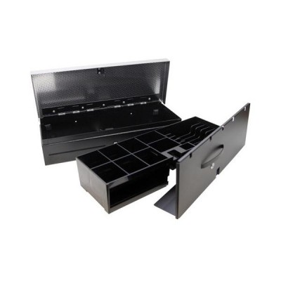Денежный ящик АТОЛ FlipTop-MB черный, 24V, верхняя крышка из нержавеющей стали + крышка для инкассации